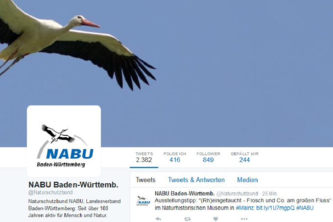 Twitter-Account NABU Baden-Württemberg April 2016
